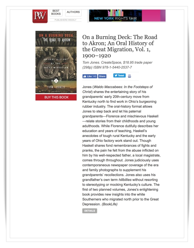 On A Burning Deck: Review Publishers Weekly