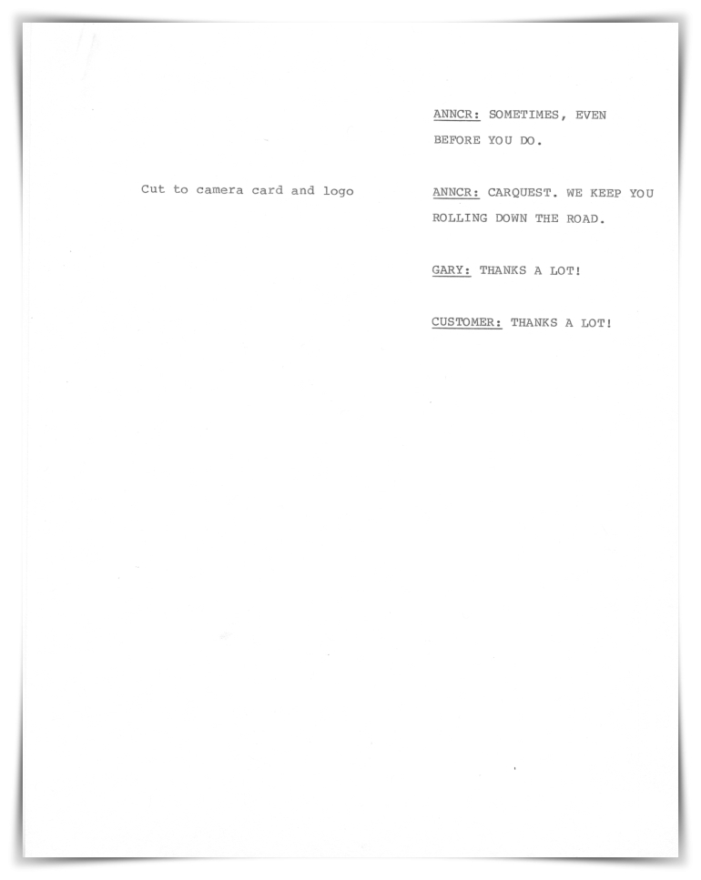Carquest Auto Parts—Television (unproduced script)