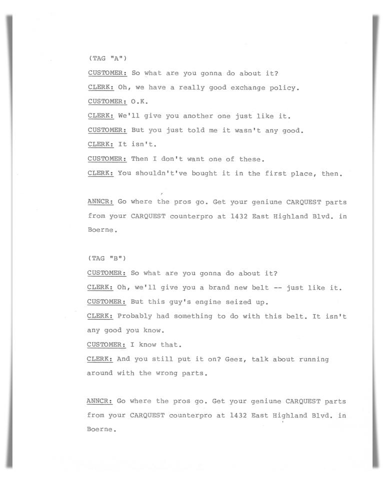 Carquest Auto Parts—Radio (unproduced script)