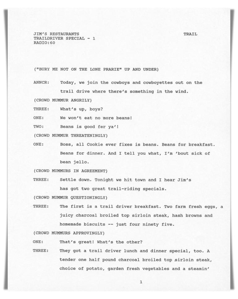 Jim's Restaurants—Radio (unproduced script)
